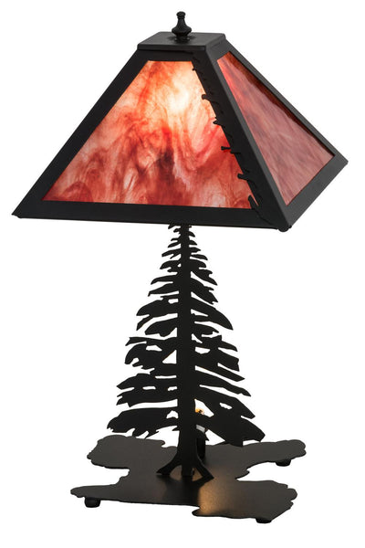 Meyda 21 H Leafs Edge Tall Pines W Lighted Base Table Lamp Sky