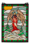 "Meyda 12""W X 17""H Winter Angel Stained Glass Window"