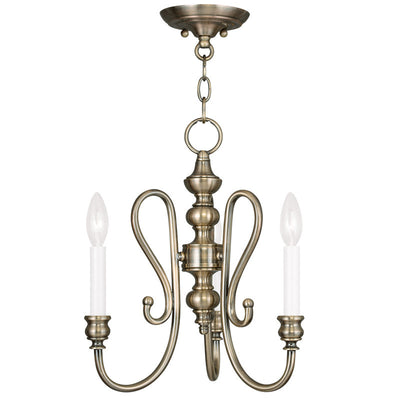 Livex Lighting Caldwell Antique Brass Convertible Mini Chandelier/Ceiling Mount 5163-01