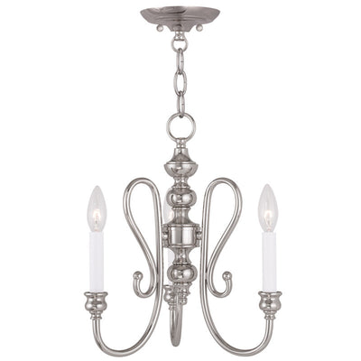 Livex Lighting Caldwell Polished Nickel Convertible Mini Chandelier/Ceiling Mount 5163-35