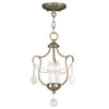 Livex Lighting Chesterfield Antique Brass Convertible Chain Hang/Ceiling Mount 6420-01