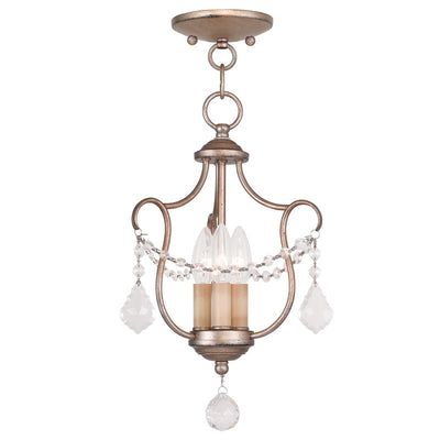 Livex Lighting Chesterfield Hand Painted Antique Silver Leaf Convertible Chain Hang/Ceiling Mount 6420-73