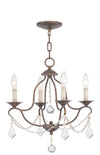 Livex Lighting Chesterfield Hand Applied Venetian Golden Bronze Mini Chandelier 6424-71