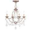 Livex Lighting Chesterfield Hand Painted Antique Silver Leaf Mini Chandelier 6424-73