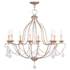 Livex Lighting Chesterfield Hand Painted Antique Silver Leaf Chandelier 6428-73