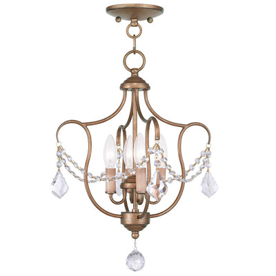 Livex Lighting Chesterfield Antique Gold Leaf Convertible Chain Hang/Ceiling Mount 6434-48
