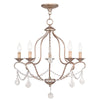 Livex Lighting Chesterfield Hand Painted Antique Silver Leaf Chandelier 6435-73