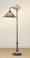 "Meyda 59""H Tiffany Rosebush Bridge Arm Floor Lamp"