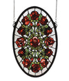 "Meyda 11""W X 17""H Oval Rose Garden Stained Glass Window"