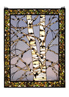 "Meyda 28""W X 36""H Birch Tree In Winter Right Stained Glass Window"