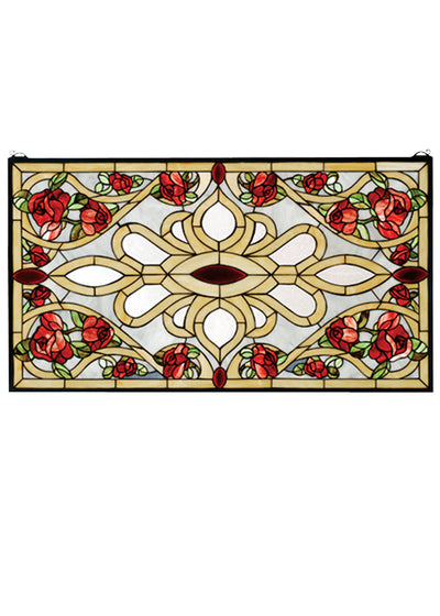 "Meyda 36""W X 20""H Bed Of Roses Stained Glass Window"