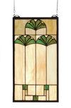 "Meyda 11""W X 20""H Ginkgo Stained Glass Window"