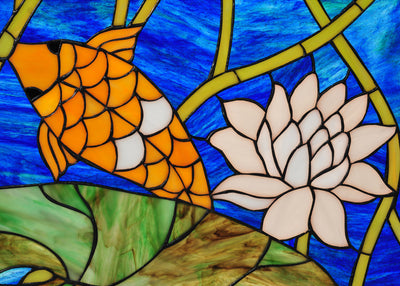 "Meyda 22.25""W X 37.75""H Koi Pond Lily Stained Glass Window"