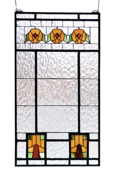 "Meyda 18""W X 32""H Aurora Dogwood Stained Glass Window"