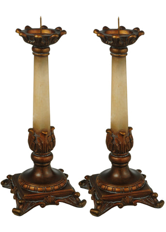 "Meyda 10""H Arcadia 2 Pieces Candle Sticks"