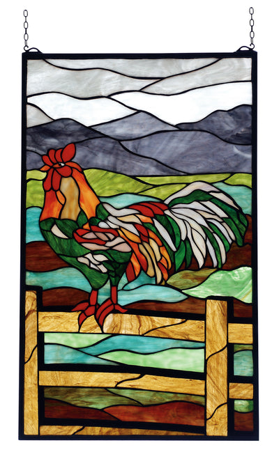 "Meyda 19""W X 31""H Rooster Stained Glass Window"