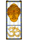 "Meyda 12""W X 30""H Buddha Head Stained Glass Window"