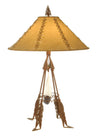 "Meyda 33""H Arrowhead & Feather Faux Leather Shade Table Lamp"
