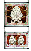 "Meyda 20""W X 32""H Shell And Ribbon 2 Pieces Stained Glass Window"