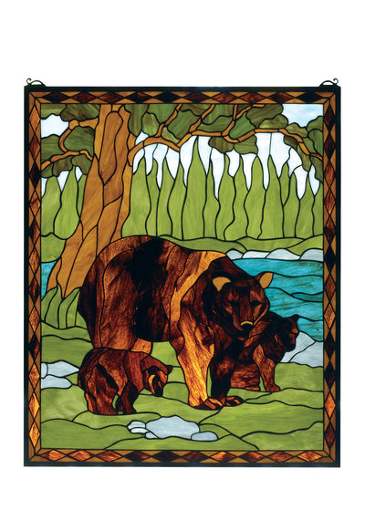 "Meyda 25""W X 30""H Brown Bear Stained Glass Window"