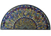 "Meyda 56""W X 28.5""H Tiffany Jeweled Peacock Stained Glass Window"