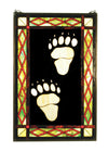 "Meyda 17.5""W X 26.5""H Bear Tracks Stained Glass Window"