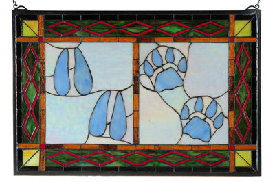 "Meyda 26.5""W X 17.5""H Deer & Cougar Tracks Stained Glass Window"