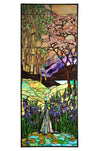"Meyda 24""W X 60""H Waterfall, Iris & Birch Stained Glass Window"
