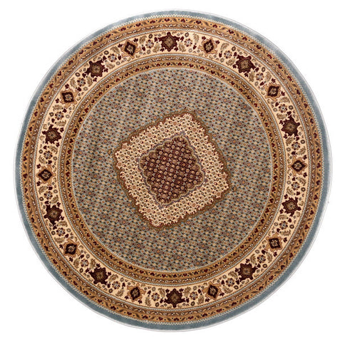 "Brillante Machine Made Blue  Round Rug (5'7"" x 5'7"") - Sky Home Decor"