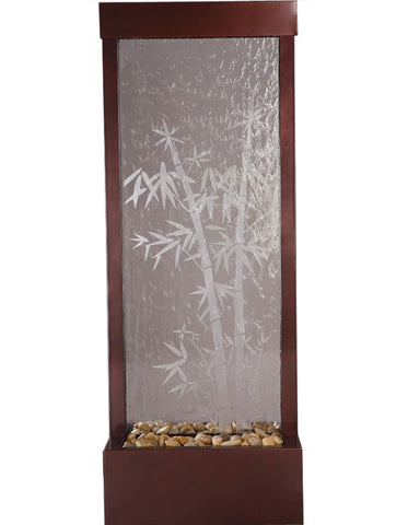 Gardenfall 4' Dark Copper with Bamboo Glass Fountain by Bluworld - Elegant Water Features