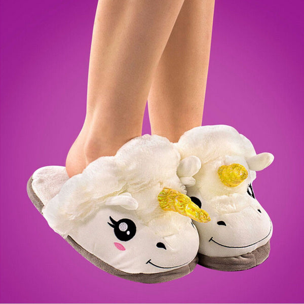 Fuzzy Unicorn Slippers (Free Shipping)