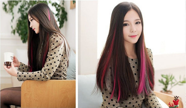Fashion hair extension for women Long Synthetic Clip In Extensions Straight Hairpiece Party Highlights Punk hair pieces - the Weird Store - 4