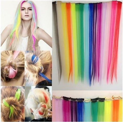 Fashion hair extension for women Long Synthetic Clip In Extensions Straight Hairpiece Party Highlights Punk hair pieces - the Weird Store - 1