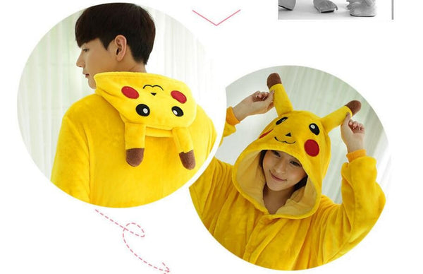 Pokemon Pikachu Cosplay Animal Hoodie Sleepwear Pajamas Adult Yellow Unisex Pikachu Onesie - the Weird Store - 4