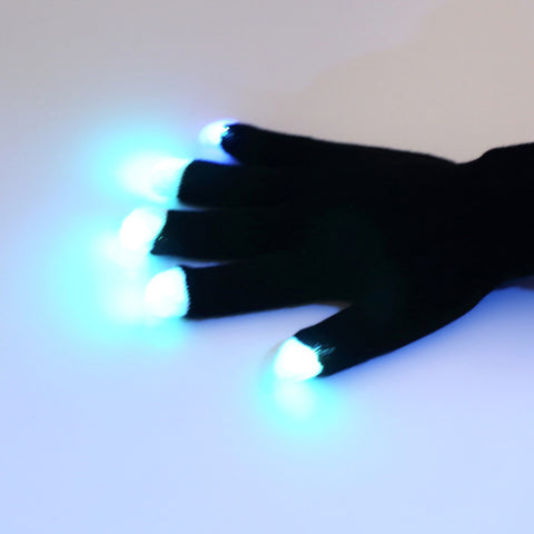 Flashing Fingertip Light LED RAVE Gloves Mittens - the Weird Store - 1