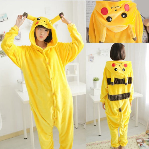 Pokemon Pikachu Cosplay Animal Hoodie Sleepwear Pajamas Adult Yellow Unisex Pikachu Onesie - the Weird Store - 7
