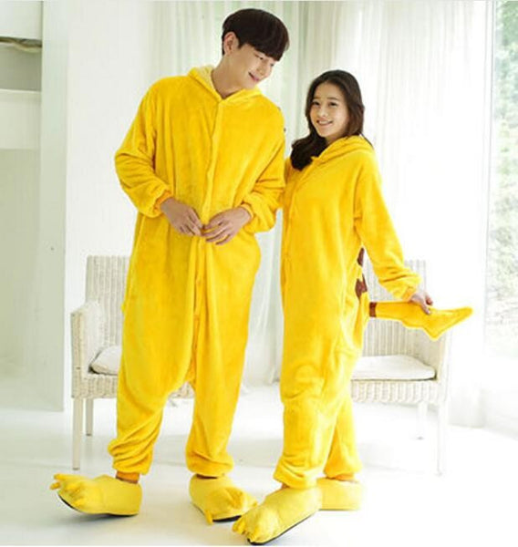 Pokemon Pikachu Cosplay Animal Hoodie Sleepwear Pajamas Adult Yellow Unisex Pikachu Onesie - the Weird Store - 9