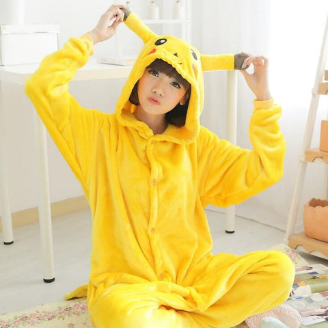 Pokemon Pikachu Cosplay Animal Hoodie Sleepwear Pajamas Adult Yellow Unisex Pikachu Onesie - the Weird Store - 1