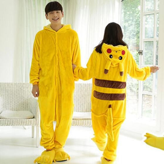 Pokemon Pikachu Cosplay Animal Hoodie Sleepwear Pajamas Adult Yellow Unisex Pikachu Onesie - the Weird Store - 5