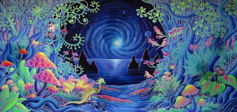 "Psychedelic Trippy Art Fabric poster 28"" x 13"" Glowing blue night Trip! - the Weird Store - 1"