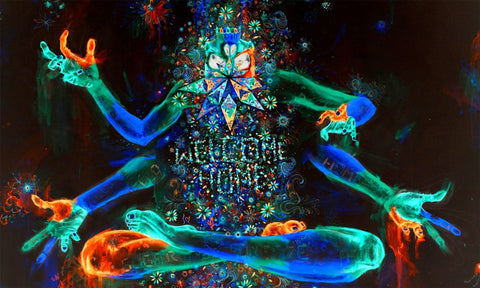 "Psychedelic Trippy Art Fabric poster 40"" x 24"" 21"" x 13"" 4 armed glow in the dark - the Weird Store - 1"