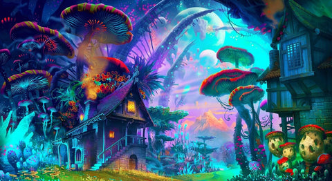 "Psychedelic Trippy Art Fabric poster 43"" x 24"" 24"" x 13"" Vibrant Shroom House - the Weird Store - 1"