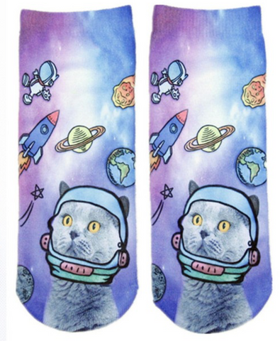 Spacey Kitty Socks (Free Pair) - the Weird Store