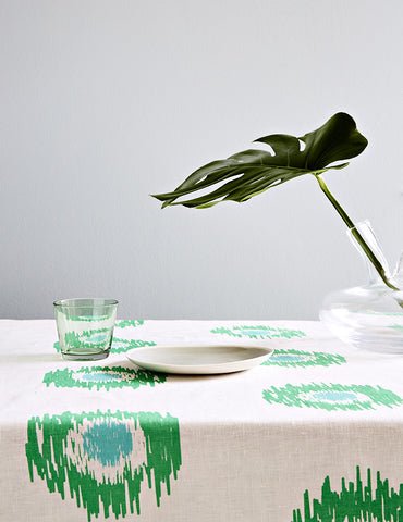 Aqua and green Ikat spot linen tablecloth