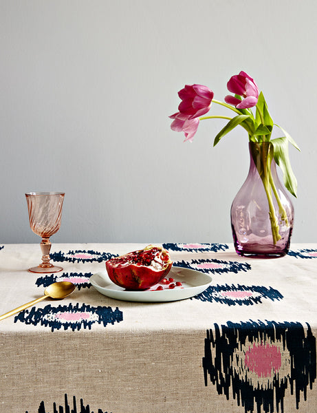 Ink and pink Ikat spot linen tablecloth