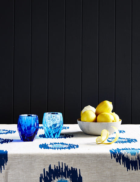 Blue and blue Ikat spot linen tablecloth
