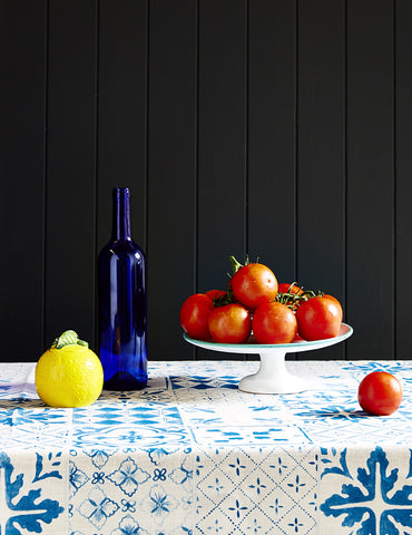 Tiles linen tablecloth