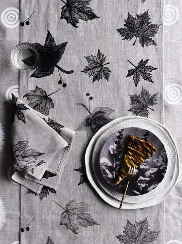 Black Leaves linen table runner