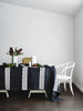 Indigo Lace Stripe linen tablecloth