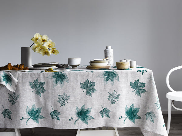 Green Leaves linen tablecloth